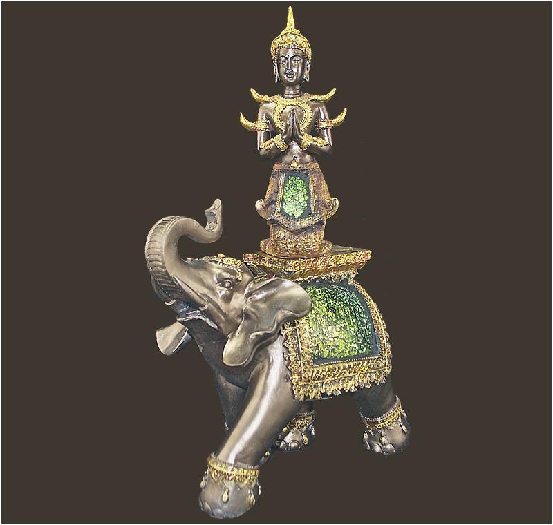 buddhawelt thai buddha auf elefant figur 1 h he 35 cm. Black Bedroom Furniture Sets. Home Design Ideas